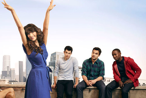 Jess and her three roommates in a New Girl promo poster