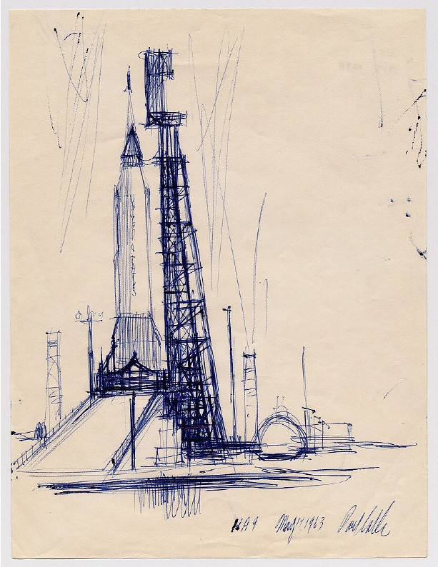Rocket and Gantry (ball point pen on paper) 1963 by Paul Calle