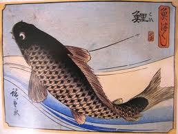 Japanse tekening van de wilde karper