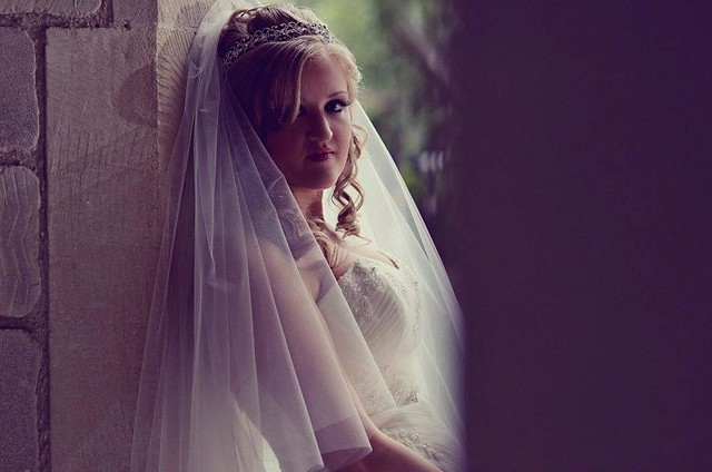 BSB bride Jane in her waist length veil
