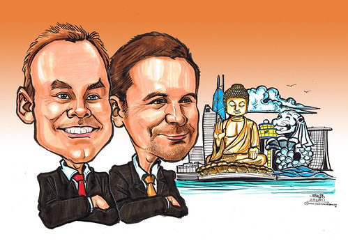 Caricatures for banner - Hong Kong and Singapore landmarks - (background)