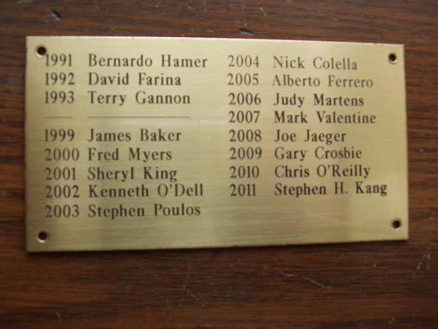 ASI Plaque of Borovik Novice Trophy Winners 2003 - 2011