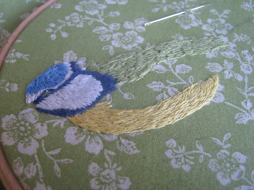 WIP - Blue Tit Embroidery by Handmade and Heritage
