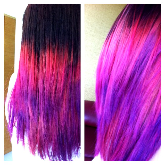 Ombre Hair Brown Pink Red Purple Shiberty