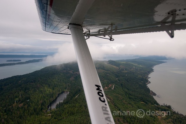 High above Salt Spring Island on the De Havilland Beaver