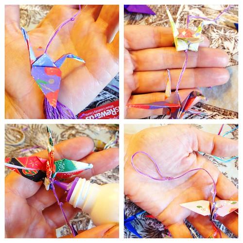Stringing Origami Crane Mobile 2