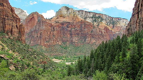 View of Virgin River from Upper Emerald Pool Trail - Zion National Park