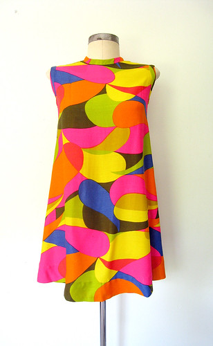 Groovy Print Colorful Mini Tent Dress, vintage 60s