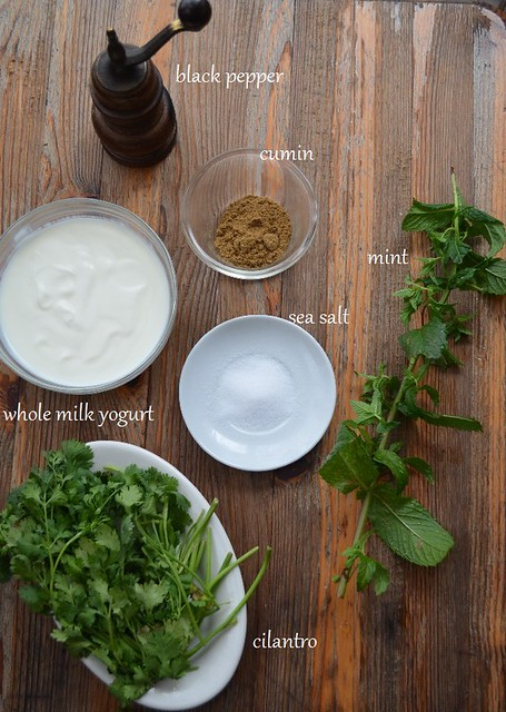 ingredients for cilantro yogurt dip