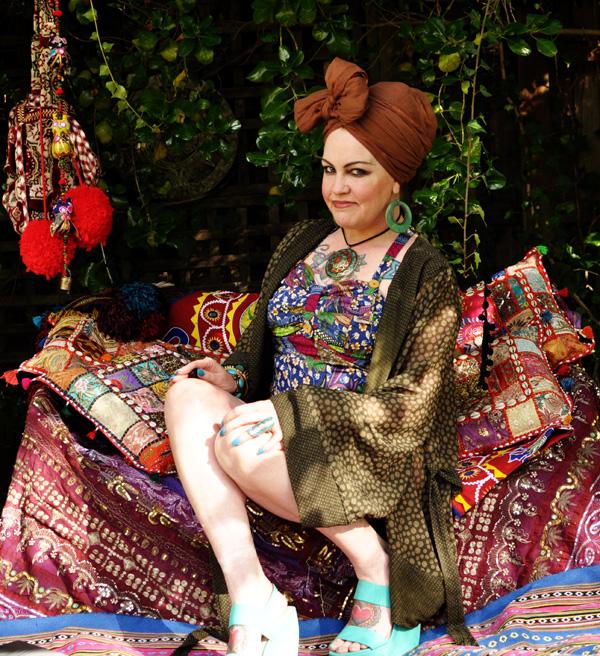Kazzthespazz.com   Handmade 50's Batik print Swimsuit