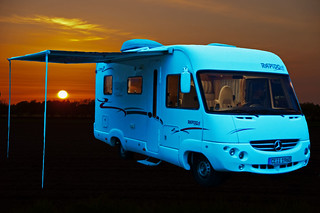 camper at sunset