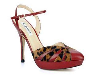 LK Bennett Bank red & leopard