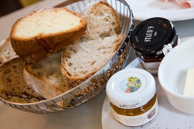 Frühstücksbrotkorb Mit Butter, Marmalade, Honig Und Guglhupf, Cafe Sabarsky