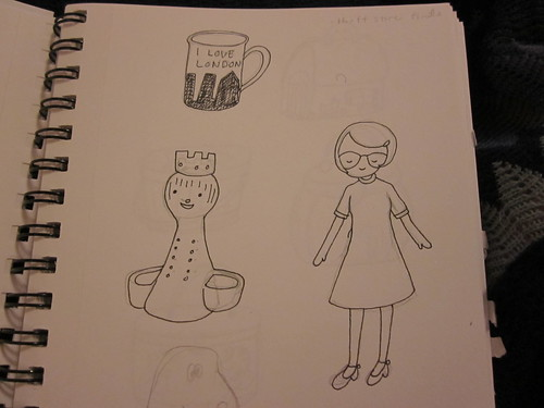 Some drawings of stuff I found at vintage shops.