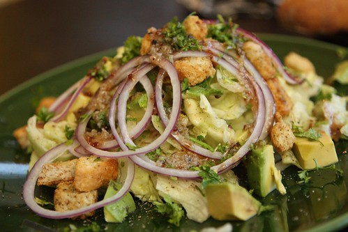 Iceberg Salad with Red Onion, Crouton, Avocado, and Mustard Vinaigrette