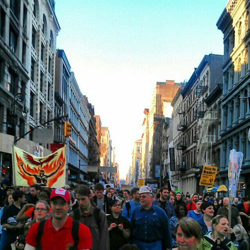 Occupy in the street on Broadway in SoHo