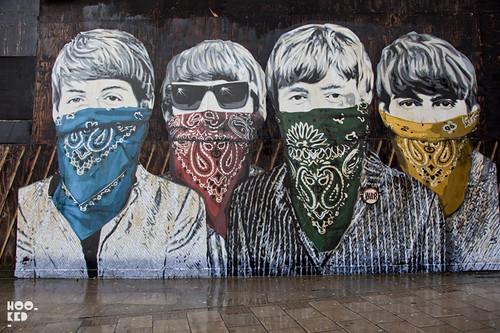 Mr brainwash goes large in london hookedblog uk for Mural by mr brainwash