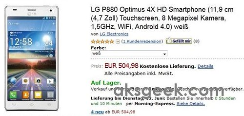 LG Optimus 4x HD pricing