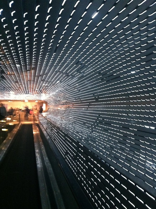"Leo Villareal's ""Multiverse"" light sculpture/moving walkway/tunnel at the National Gallery of Art- February 2012"