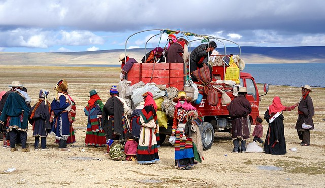 Nomad pilgrims at the monastery Trugo Gon, along the shore of Lake Manasarovar, Tibet
