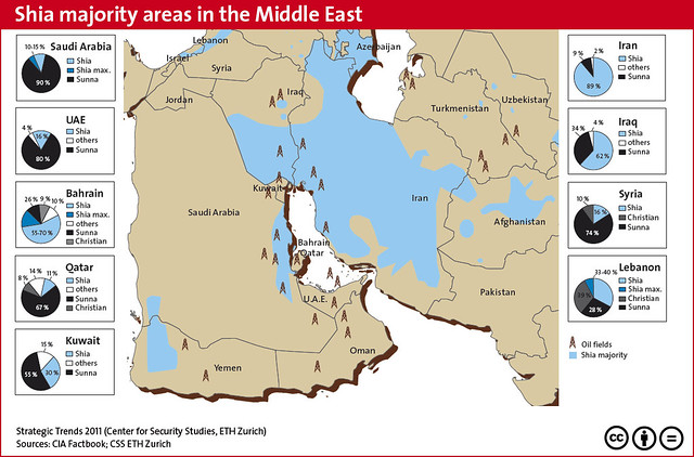 Shia majority areas in the Middle East