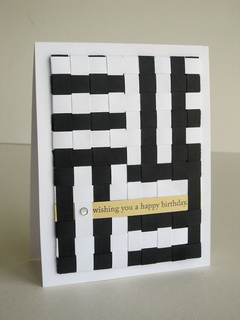 Woven Paper Black and White Birthday Card
