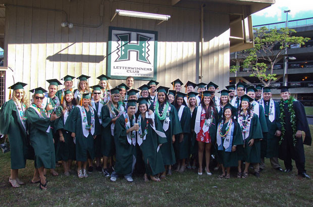 <p>UH Manoa's senior athletes celebrated the end of their collegiate careers during Manoa's spring 2012 commencement ceremony on May 12</p>