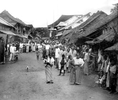 A Street In Cebu and a Holiday Crowd, Philippines, late 19th or early 20th Century