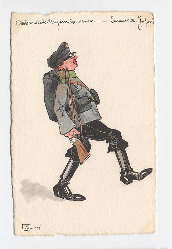 ridiculous caricature sketch of Austro-Hungarian soldier marching exaggeratedly