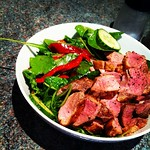 I love duck. Kick-ass paleo salad with an apricot and mustard dressing, slices of barbary duck (@markymarket)