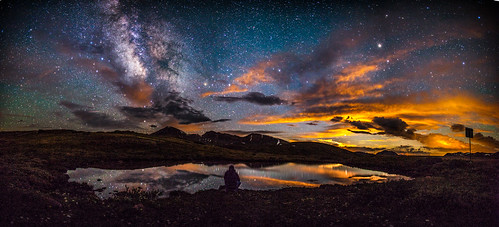 moonset and the milky way on independence pass near Aspen, Colorado