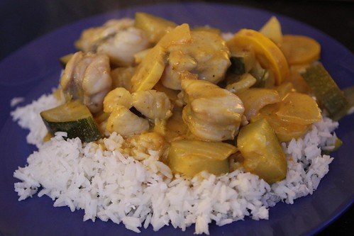 Summer Squash and Monkfish Curry over Coconut Rice