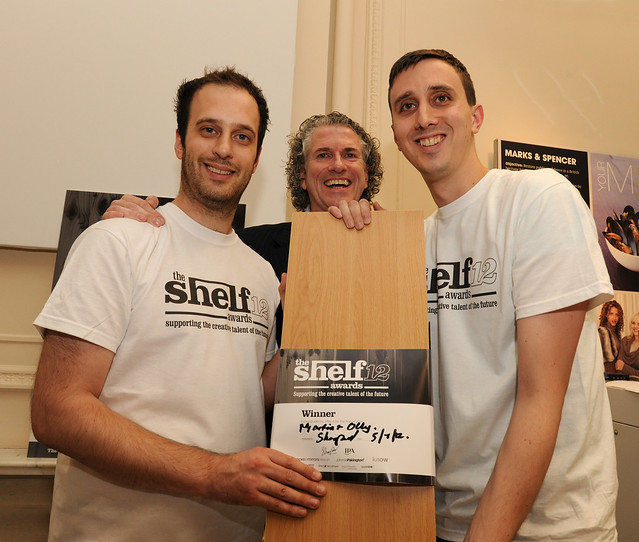 The Shelf Awards 2012 winners Martin Headon and Olly Wood receive their Shelf from founder Gary Sharpen