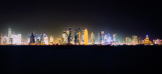 Doha Corniche On Windy Day With 4×5 View Camera Ektar 100 Pushed One Stop