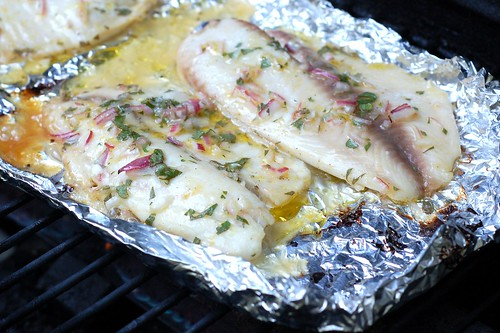 Grilling the tilapia fillets by Eve Fox, Garden of Eating blog, copyright 2012