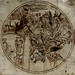 Demons attack Guthlac. England 12th cent. roundel.  tinted drawing. Harley Roll Y 6 BL