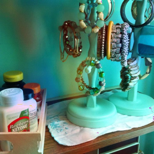 Painted thrifted items painted ( #marthastewart paint in ballet slipper and sea glass ) now hold vitamins and bangles