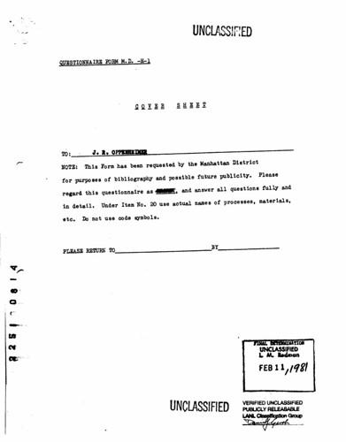 J. Robert Oppenheimer's questionnaire from July 4, 1945