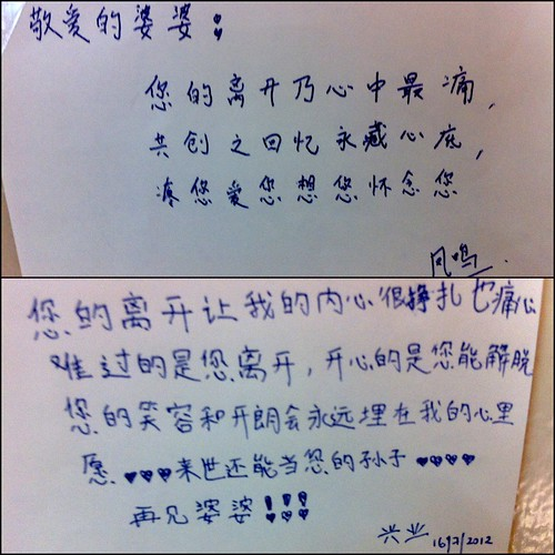 Letters to grandma by Cousins Fung Ming and Hing Yip