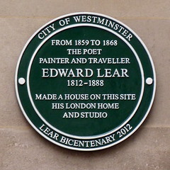 Photo of Edward Lear green plaque