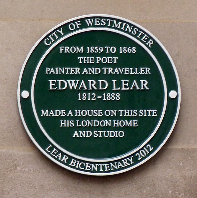 Edward Lear green plaque - From 1859-1865 the poet, painter and traveller Edward Lear 1812 - 1888 made a house on this site his London home and studio. Lear Bicentenary 2012