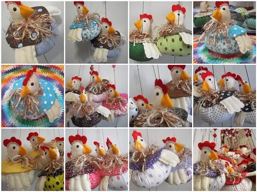 produção da semana ... móbiles de galinha by Panos e Contas
