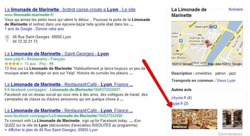 Google - intégration de la vue intérieure directement dans la page de résultats