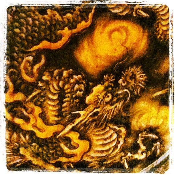 Check out this 350-year-old Kano dragon painting. On the ceiling of a really big temple lecture hall.