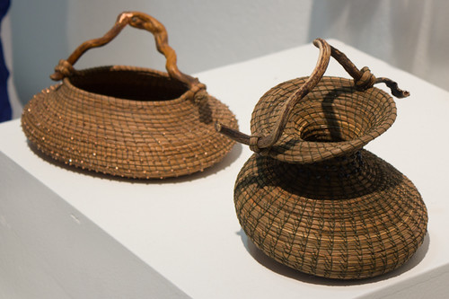 Beaded Basket with Imbedded Stone and Dancing Basket with Kelp