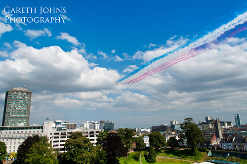 Red Arrows over Cardiff
