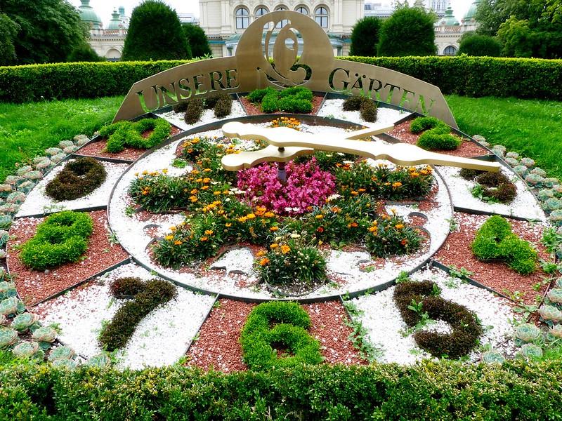 Flower Clock (Blumenuhr) in the Wiener Stadtpark (The Viennese City Park) in Vienna Austria