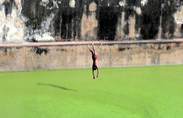 Guys jumping into pool at Jodhabai's Palace2