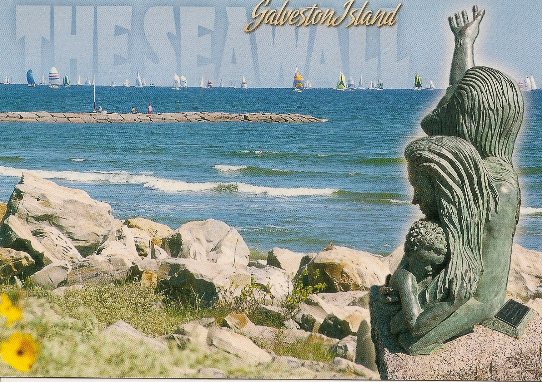 The Seawall, Galveston Island, Tx Postcard