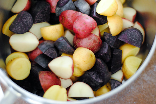 yellow, red and purple potatoes